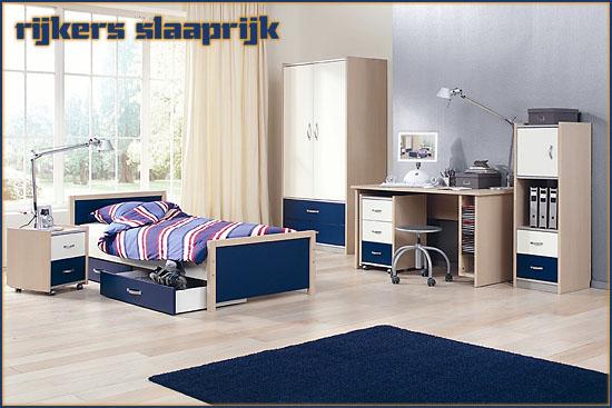 Slaapkamer met bureau tienerkamer troy van vroomshoop meubelen in wit met cobalt blauw - Beeld decoratie slaapkamer ...